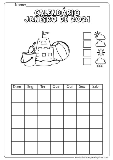 calendário janeiro de 2021 para imprimir e colorir