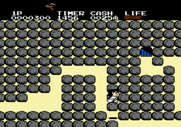Another screenshot wherein Goemon is in an underground section of the game trying to find a pass.