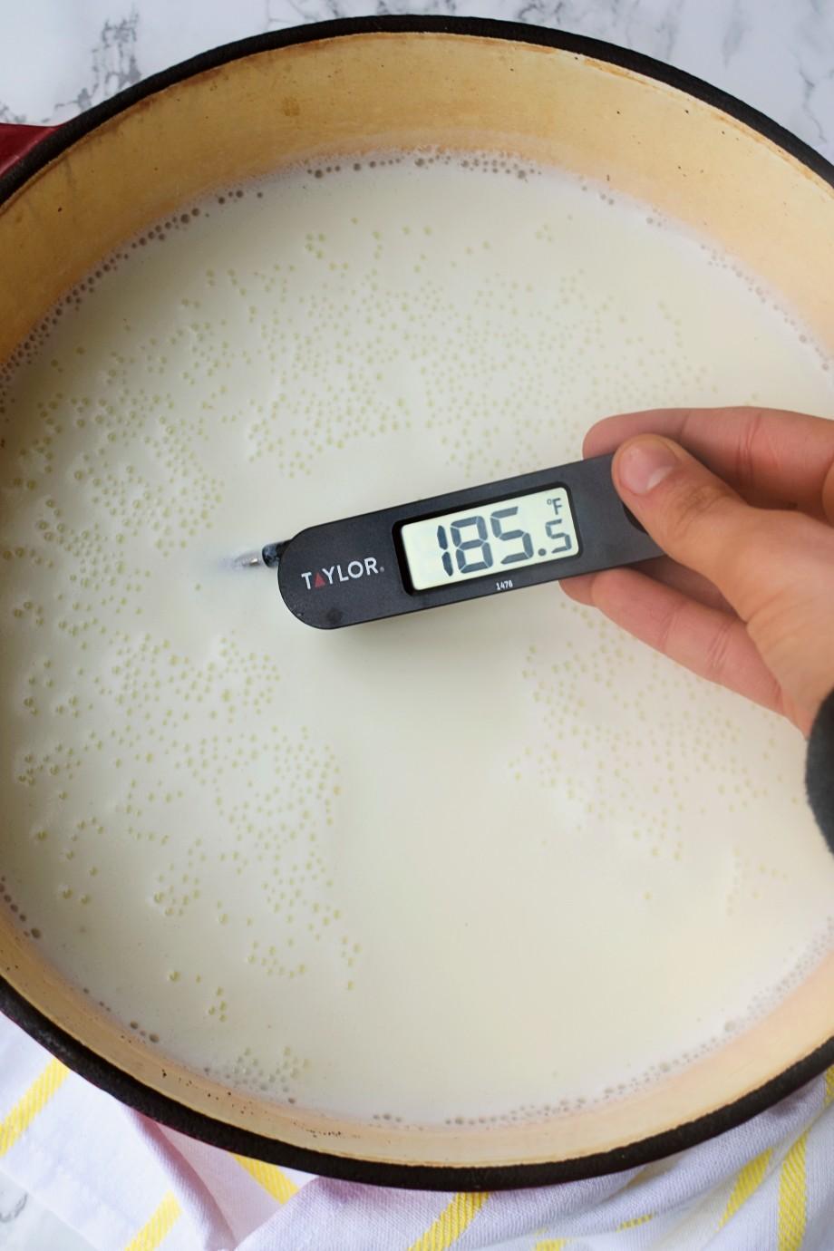 Heating milk to make homemade yogurt