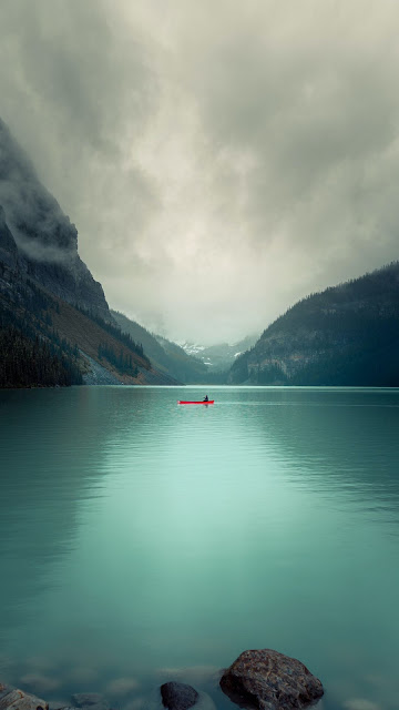 Lake, Mountain, Canoe, Valley, Landscape