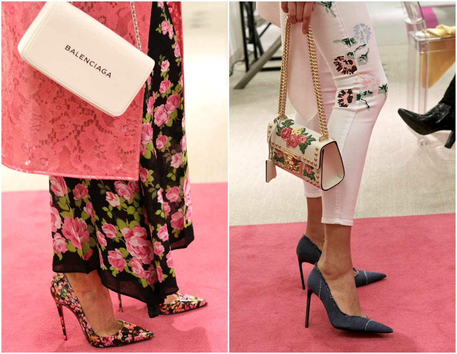 christian louboutin floral pointed heels, white balenciaga purse, pointed denim shoes