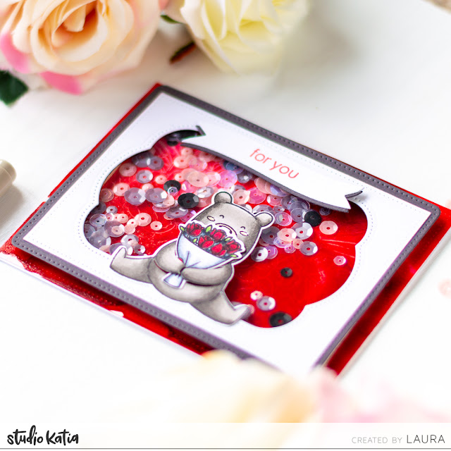 Alcohol Lift Ink Background - Valentine's Day Shaker Card feat Studio Katia Kobi's Hugs and Kisses
