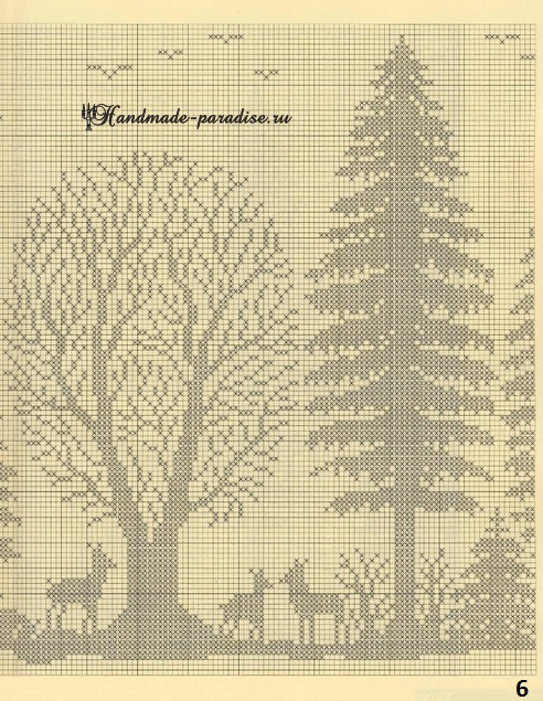 Лес. Филейные шторы крючком и вышивка (6)