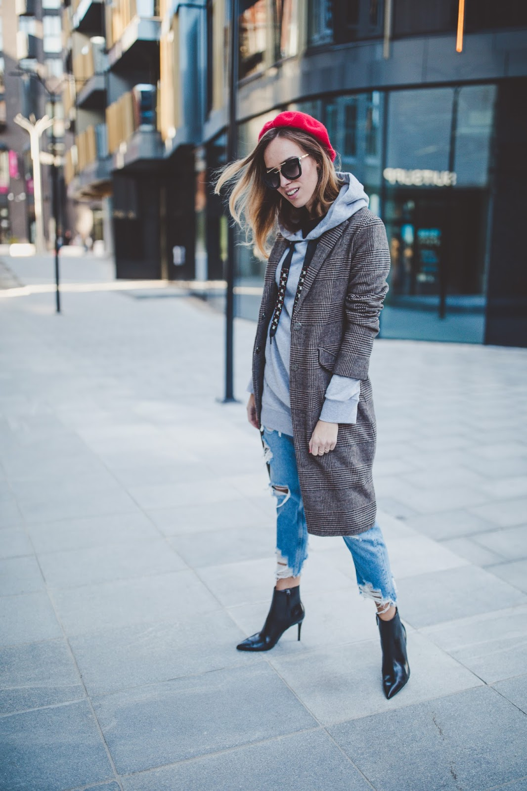 plaid coat jeans boots