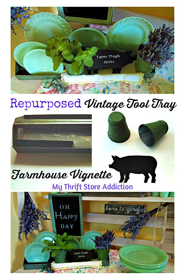 Repurposed tool tray farmhouse vignette