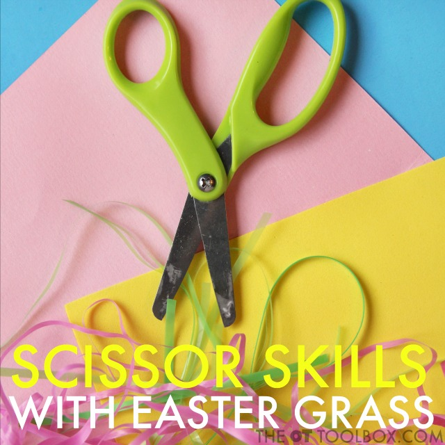 Scissor skills Easter activity for teaching kids to use scissors