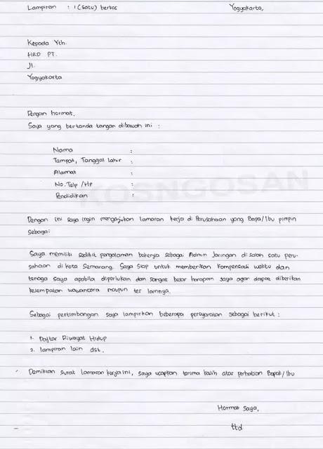 Contoh Surat Lamaran Kerja Tulis Tangan (via: kosngosan.com)