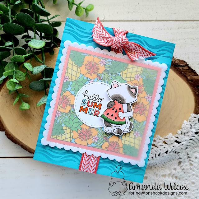 Cat and Watermelon Summer Card by Amanda Wilcox | Newton's Melon Stamp Set, Floral Fringe Stamp Set,Frames Squared Die Set by Newton's Nook Designs #newtonsnook