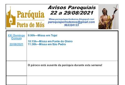 Avisos Paroquiais - 22 a 29 de Agosto 2021