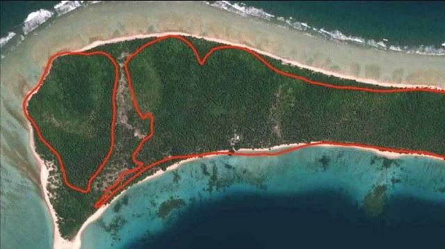 A ilha de Jeh está crescendo. Limites de 1943 em vermelho. Fonte (USDA)