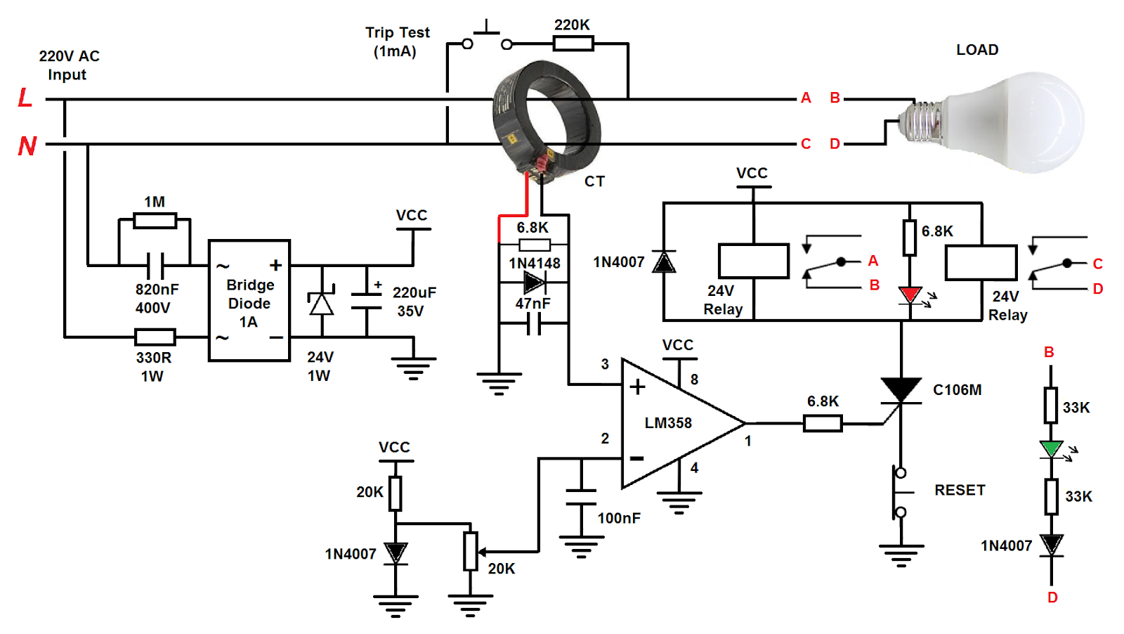 RCD Circuit to Protects the Human Against Electric Shock