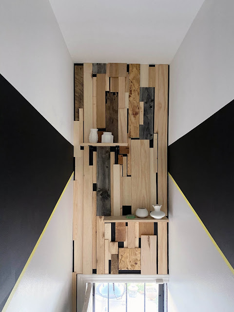 scrap wood and painted geometric walls