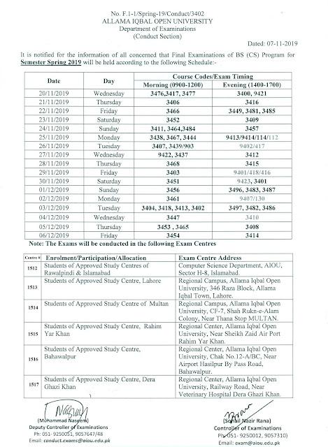 AIOU BSCS date sheet Spring 2019