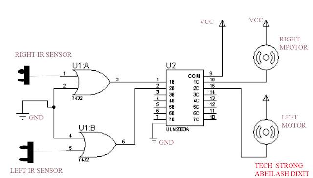 main circuit diagram for line follower robot