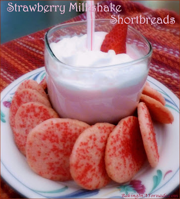 Strawberry Milkshake Shortbreads, the flavor of a summer treat in a crunchy cookie. | Recipe developed by www.BakingInATornado.com | #recipe #cookies