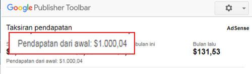 Mendapatkan $1000 dari Google Adsense