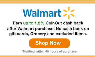 Android screenshot of the sometimes vague terminology surrounding Coinout's cashback offers.