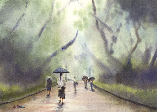 雨の日 水彩画