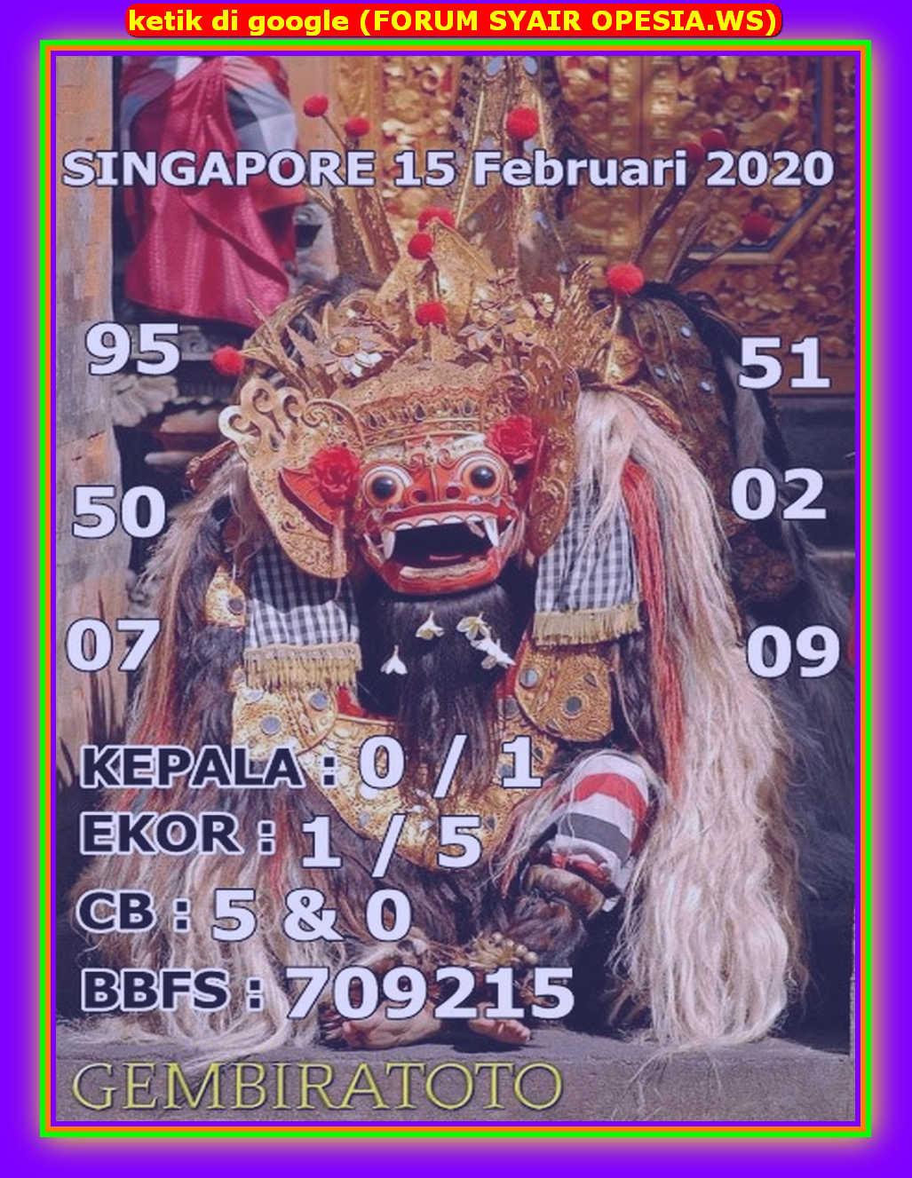 Kode syair Singapore Sabtu 15 Februari 2020 157