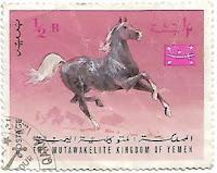 Selo Cavalo Árabe Trotando