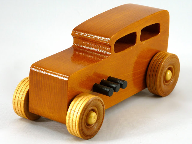 Left Front - Wooden Toy Car - Hot Rod Freaky Ford - 32 Sedan - Pine - Amber Shellac - Metallic Gold - Black