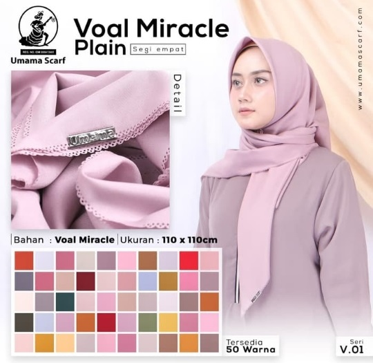 Jilbab Segi Empat Umama Voal Miracle Plain