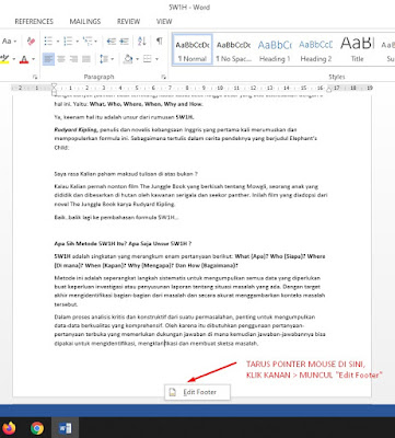 cara membuat halaman di word_edit footer