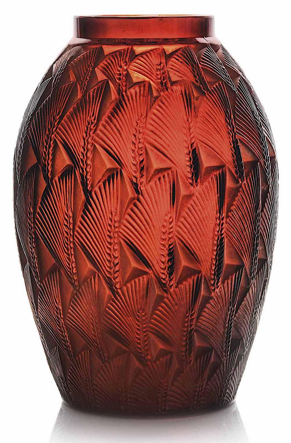 Lalique glass vase red 1932