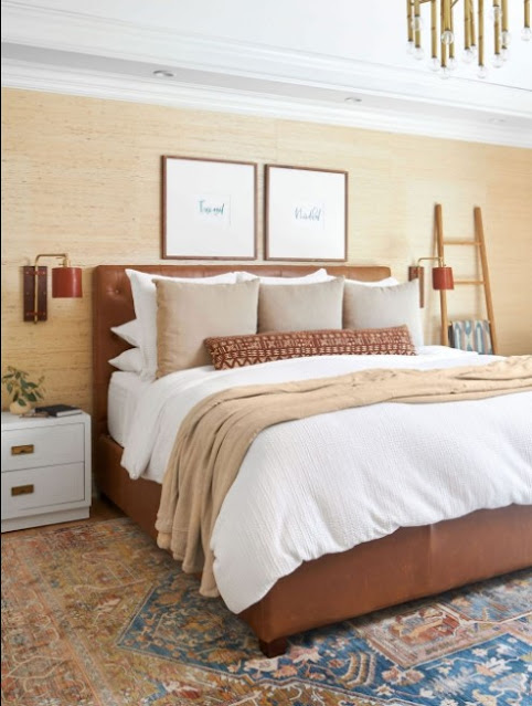brown two colour combination for bedroom walls