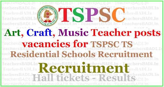 Art,Craft,Music Teacher posts vacancies for TSPSC TS Residential Schools Recruitment