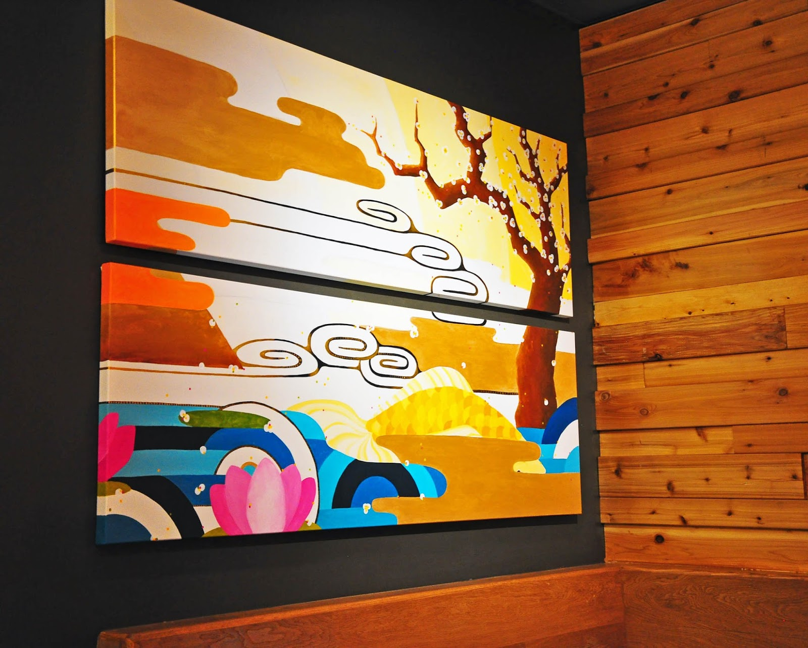 Ideal The new Japanese izakaya Okane in San Francisco us Design District greets its visitors with a wall of Noh masks orange Edison lamps by the window with