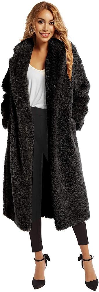 Women's Black Faux Fur Coats Jackets