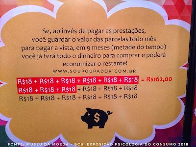 Exposição Psicologia do Consumo do Museu da Moeda, cálculo de prestações, valor à vista, valor a prazo.