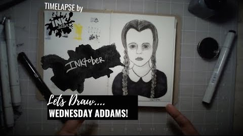 We Drew Wednesday Addams - Bad Ass Ladies of Horror - Inktober 2018