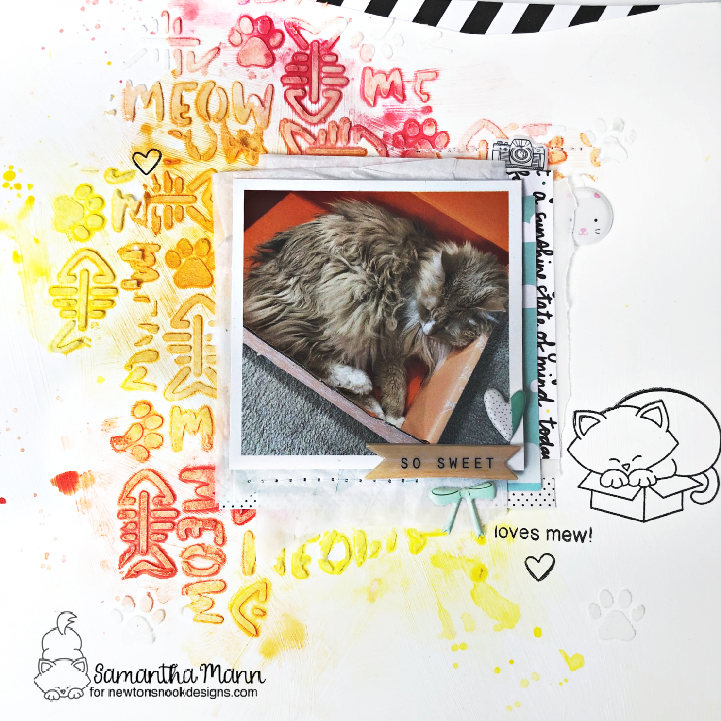 Cat in Box Scrapbook Layout by Samantha Mann | Newton Loves Boxes Stamp Set, Newton's Antics Stamp Set and Meow Stencil by Newton's Nook Designs #newtonsnook #handmade