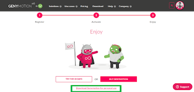 genymotion account creation and download page
