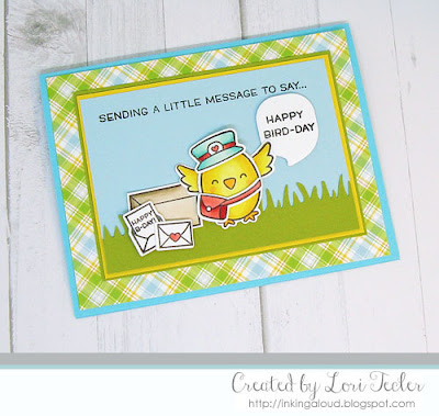 Sending a Little Message to Say Happy Bird-Day card-designed by Lori Tecler/Inking Aloud-stamps and dies from Lawn Fawn