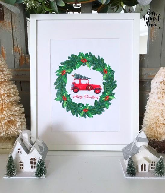Merry Christmas holly wreath red car Christmas tree Putz houses