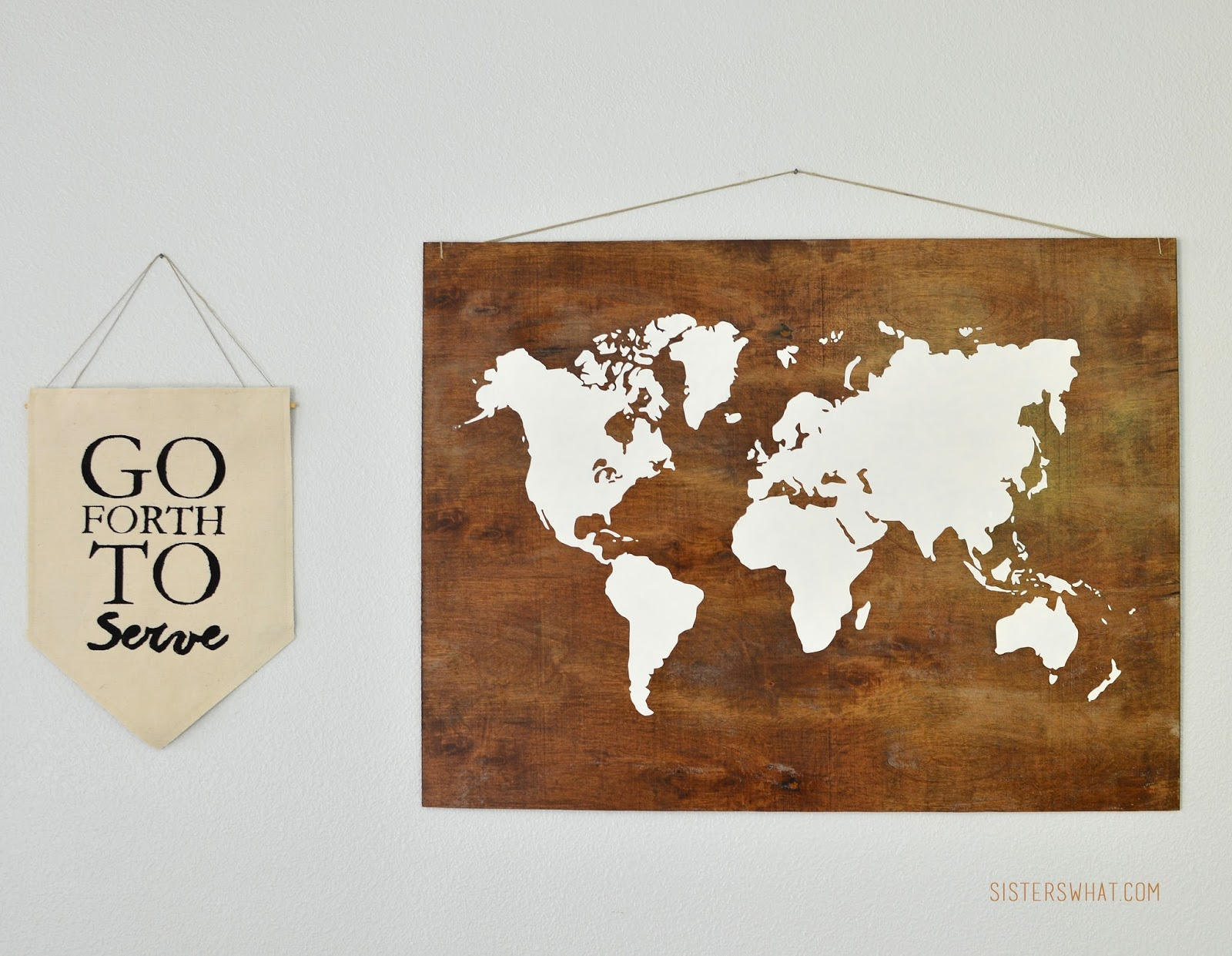 Plywood World Map Art