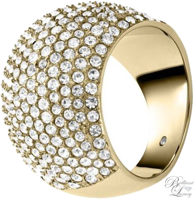 Brilliant Luxury ♦ Michael Kors Pavé-Embellished Gold-Tone Dome Ring