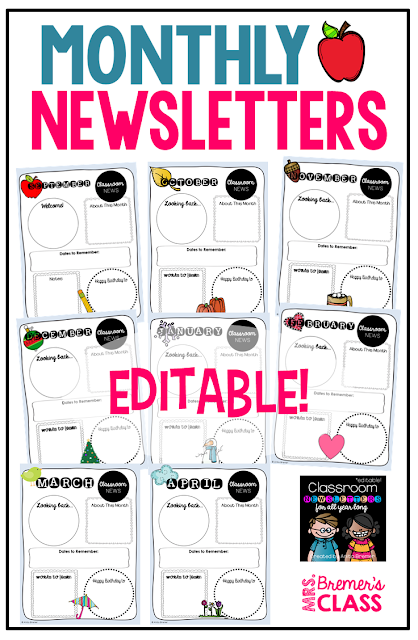 Editable monthly newsletters to communicate with parents about what is happening in class every month