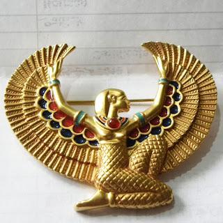 Egyptian goddess brooch large