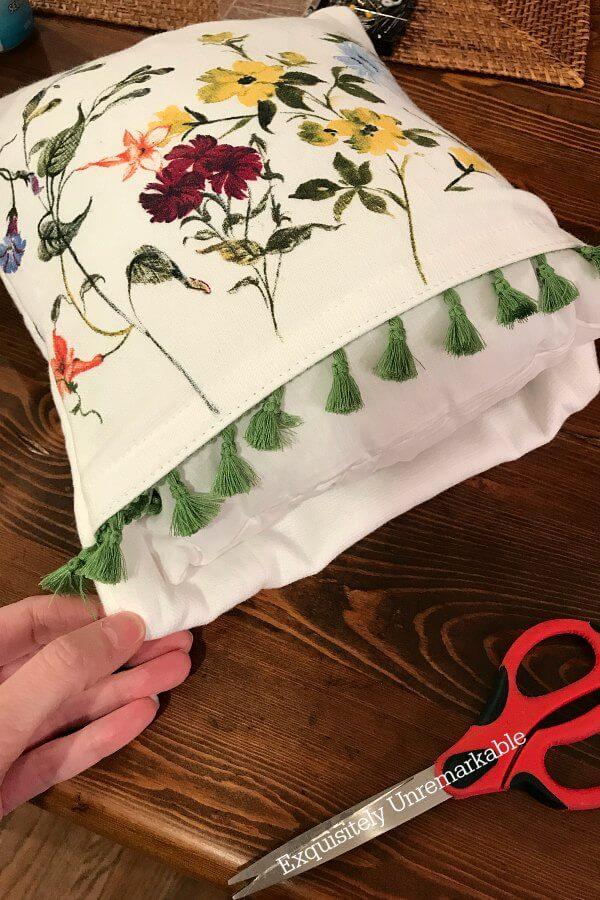 Easy DIY Fringe Pillow Cover