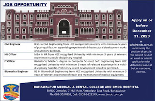 BMDC Hospital Jobs 2020, Bahawalpur Medical and Dental College