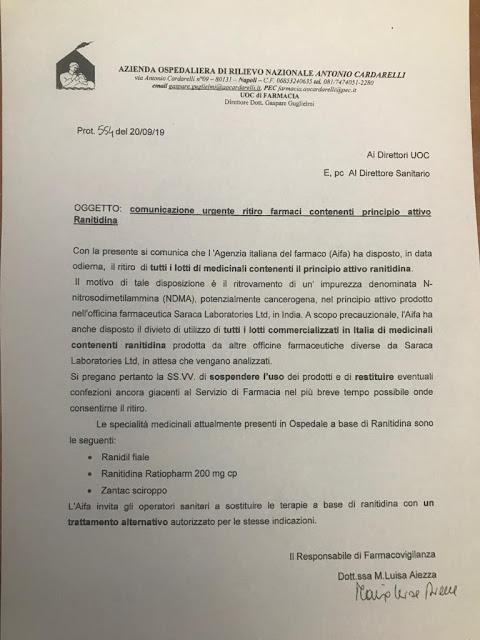 AVVISO. L'AIFA, Agenzia Italiana del Farmaco, dispone ritiro farmaci. La circolare del Cardarelli di Napoli