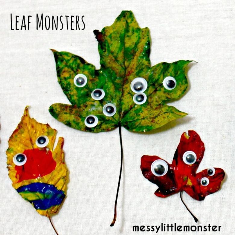 painted leaves nature craft for kids