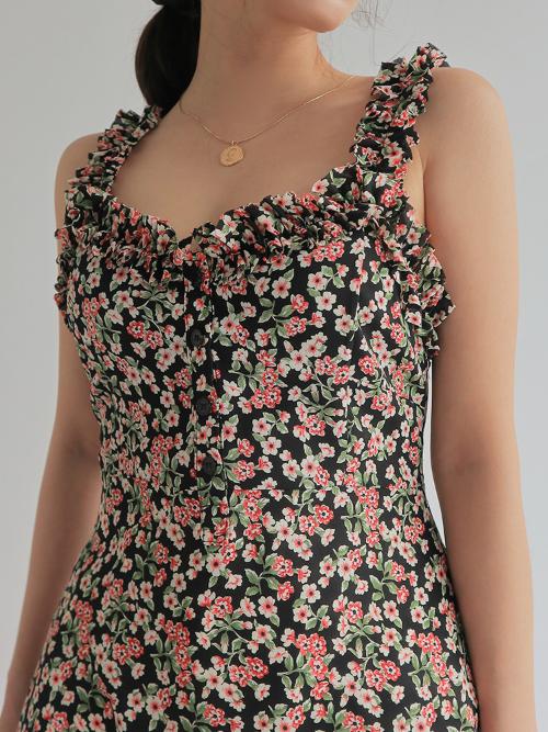 Frill Trim Sleeveless Floral Mini Dress