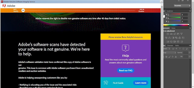 Solved: WARNING! Adobe software is not genuine
