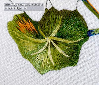 Needlepainted nasturtium leaf completed. (Catherine Laurencon Capucines (Inspirations))