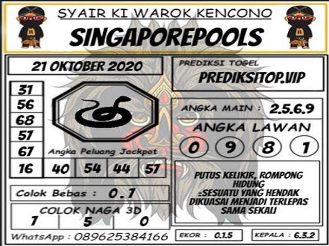 Kode syair Singapore Rabu 21 Oktober 2020 118